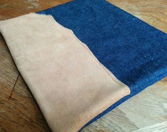 Denim clutch with reclaimed light brown leather piece - brown and blue lining