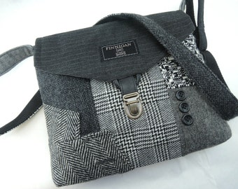 Crossbody bag, Crossbody Purse, Recycled Crossbody Purse, Handbag, Gift for her, iPhone pocket,Recycled mens suit coat