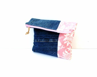 Fold over clutch bag, recycled denim jeans bag, pink white , zipper pouch clutch, durable  handbag