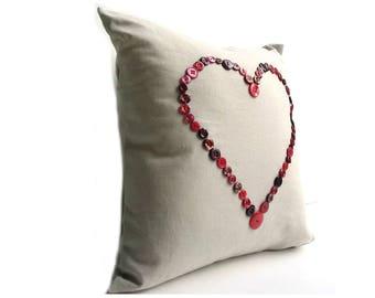 Heart pillow, button pillow, love pillow, complete 14 inch pillow, cushion, throw pillow, linen pillow cover with insert
