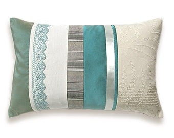 Duck Egg Blue Cream Lumbar Pillow Case 12 x 18 in Green Off White Gray Beige Pastel  IRMA DESIGN Limited Edition