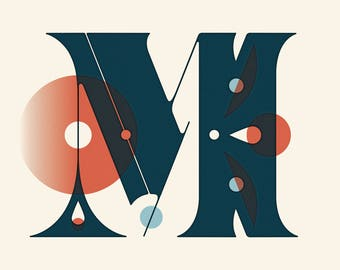 """Letter M Print - 12"""" x 12"""" on French Pop-Tone Whip Cream 65# Cover"""