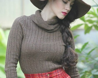 Vintage Turtle Neck Sweater 1970s Pullover Sweater Chocolate Brown Sweater Womens Winter Clothing Winter Tops 1970s Clothing Size Small SM