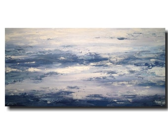 Large wall art  painting - 24 X 48 Inches-by JMJartstudio-Taking A Stand -Wall art -blue -Oil painting