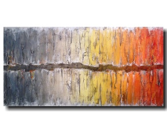 Original Large Abstract painting Industrial Art oil paintings - 24 X 48 JMJartstudio- Beyond Reason-Wall art-wall decor - Gray painting