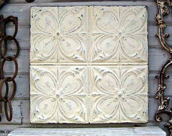 Tin Ceiling Tile, Architectural salvage wall decor,  FRAMED 2'x2' Tin Ceiling Panel, Old chippy off white paint, Rustic decor