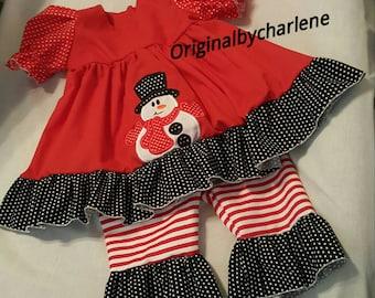 Boutique OOAK Christmas Applique Snowman Ruffle Dress Set
