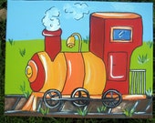 "one 16""x20"" painting of a train engine"