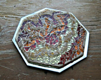 Mosaic Stained Glass, Trivet, Candle Holder, Octagon, Mosaic Mirror, Earth Tones, For The Home, Gift Idea, Amber, Light Brown - 6.5 Inches