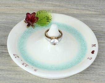 flower custom ring holder, engagement ring holder, wedding ring dish