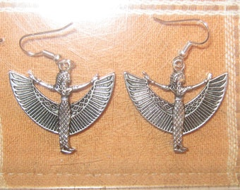 Silver Tone Egypt Egyptian ISIS Goddess Charm Dangle Earrings