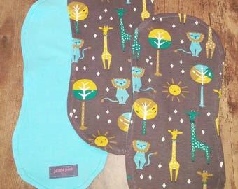 Organic Burp Cloth, Gray burp cloth, Giraffe Burp Cloth, Safari Burp cloth, 3/pack burp cloths, Gifts for Babies