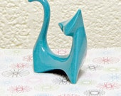 Customize Your Color - Mid Century Modern Ceramic Cat Figurine Handmade Atomic Retro Minimalist Sculpture Shown in Aqua - Made to Order