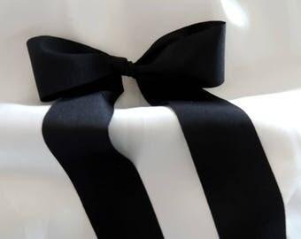"Black  2"" 50mm Matte Finish Ribbed Ribbon Taffeta Wedding Gown Sash"
