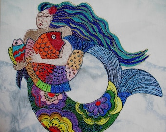 Large Metallic Mermaid Embroidered Quilt Block