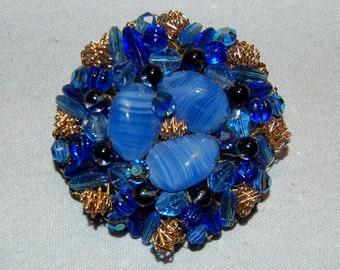 Juliana Rhinestone Brooch, Blue Art Glass,  Gold Filigree, Vintage Old Jewelry