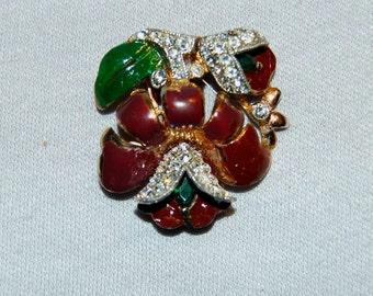 Vintage / Coro / Dress Clip / Duette / Rhinestone / Enamel / Multicolor / Patent Number / old jewelry / jewellery