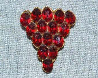 Vintage / Art Deco / Patent Number / Dress Clip / Red / Bridal / Wedding / Rhinestone / Sparkling / old jewelry