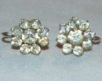 Vintage / Rhinestone / Sterling Silver / Flower / Earrings / Screw Back / old jewelry