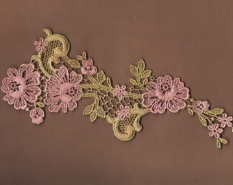 Hand Dyed Floral Venise Lace Applique  Aged Shabby Bliss