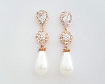 Rose Gold Pearl Earrings Bridal Jewelry Pearl Wedding Jewelry Rose Gold Pearl Large Teardrops Crystal Wedding Earrings, Mila Earrings