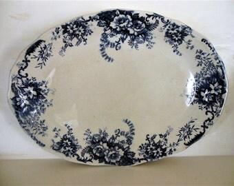 """Large Oval Ceramic Platter, Dark blue floral rim. 16"""" x 12"""""""