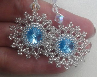 Beaded and Swarovski Crystals Snowflake Earrings