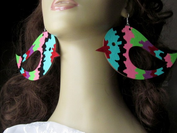 Psychedelic Earrings, Big Bird Earrings, Burning Man Festival, Pop Culture Jewelry, 80's Retro, Hand Painted Baby Chicks, Extra Large