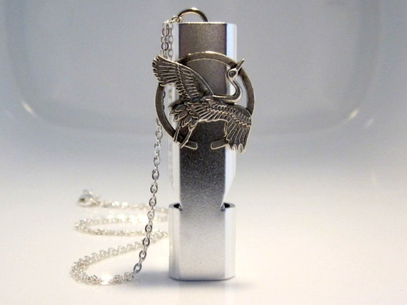 Crane Whistle Necklace, Winter Camping Gear, Woman's Self Defense, Silver Bird Jewelry, Outdoor Safety Whistle, Coach Uniform