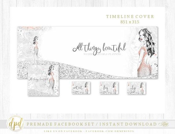 Premade DIY Facebook Set | Facebook Timeline | Facebook Package | Facebook Graphics | Business Branding | INSTANT DOWNLOAD-AA107