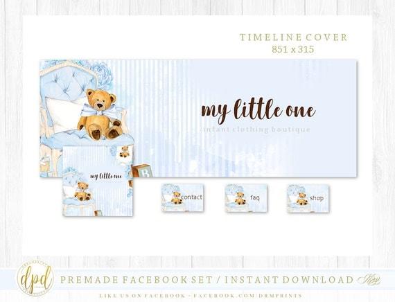 Premade DIY Facebook Set | Facebook Timeline | Facebook Package | Facebook Graphics | Business Branding | INSTANT DOWNLOAD-CR359