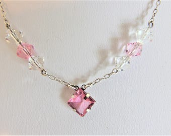 Beautiful Vintage 1930's Deco Delicate Pink Glass Necklace