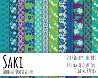 Japanese Style Digital Printable Background Paper for Web Design, Crafts, and Scrapbooking Set of 12 - Saki - in Blue, Gold, Green, Purple