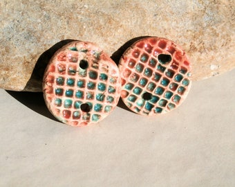 2 handmade charms for earrings or necklace - high fired  ceramic clay pottery supply - peach and turquoise blue grid