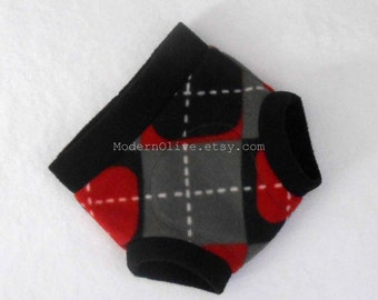 Large Valentine Mod Argyle Fleece Diaper/Underpants Cover/Soaker, Red Black White Gray Grey Check, Ready to Ship Vegan Valentine's Day