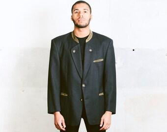 Vintage 1980s Mens Blazer . Grey Light Jacket Austrian Folk Sport Coat . sz Large to XL