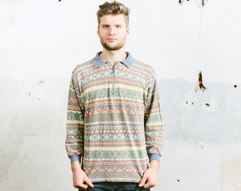 Mens 90s AZTEC Print Sweater . Vintage Patterned Boyfriend Sweater Polo Collar Pullover Jumper 1990s Southwestern . size Large