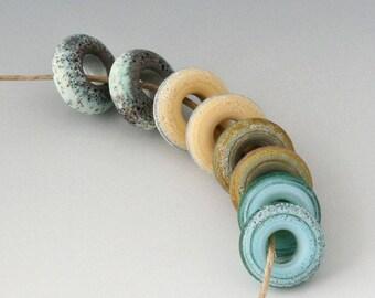 Rustic Mini Rings - (8) Handmade Lampwork Beads -  Green, Cream