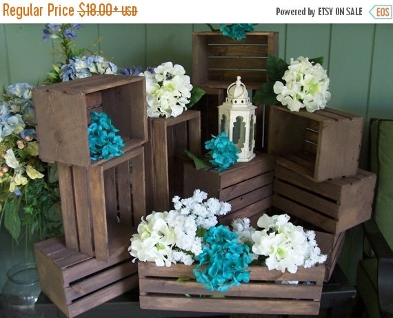 On sale wedding centerpiece wood crates in by primitivearts