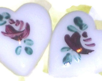 Vintage Glass Heart Cabochon Rose Limoges Floral Japan Hearts Purple Rose Plum Garden Flower. #188C