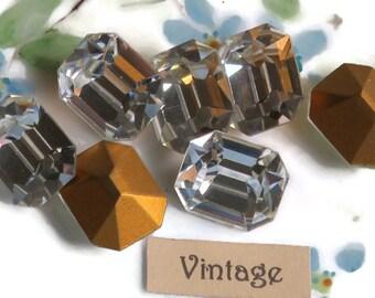 Vintage Octagon Swarovski Rhinestones Crystal 12x14mm Bright Faceted Gold Foil NOS Stones New. #912Q