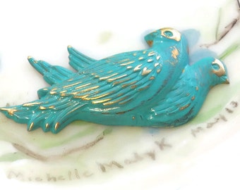 Patina Love Birds Findings Stamping Verdigris Bird Blue Green Love Stamp Hand painted Jewelry Finding Making NOS. #658U