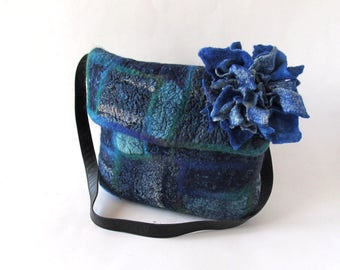Crossbody bag Blue Felted Messenger bag  Original  bag Felted  handbag  felt purse Jeans patchwork bag