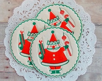Vintage Santa Paper Coasters / Christmas Ephemera / Lot of 3 / December Journal