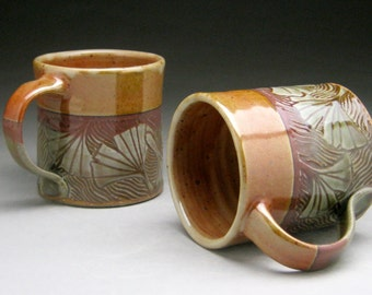 Stoneware Mug with Ginkgo Leaf Design - Green and Copper