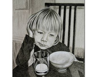 """LITTLE BOY pouting at breakfast table colored pencils painting Sandrine Curtiss ORIGINAL Art 8x10"""""""