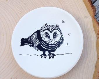 Ring Dish, Owl, Owl Jewelry Dish, Baby Owl, Polymer Clay Dish, Bird Dish, Nursery Gift, Birthday Gift, Mom Gift Mom, Engagement Ring Dish