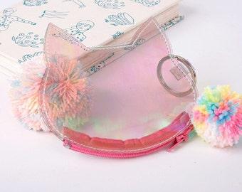 iridescent clear plastic cat coin purse zipper pouch