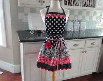 Cherry Daze with Cute Damask ~ READY TO SHIP - Ellie Style Women's Apron ~ 4RetroSisters
