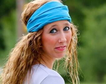 Hair Loss Head Scarf, Turquoise Head Scarf, Wide Headscarves, Lightweight Hair Band, Bright Blue Hair Loss Headcover (#2607) S M L X
